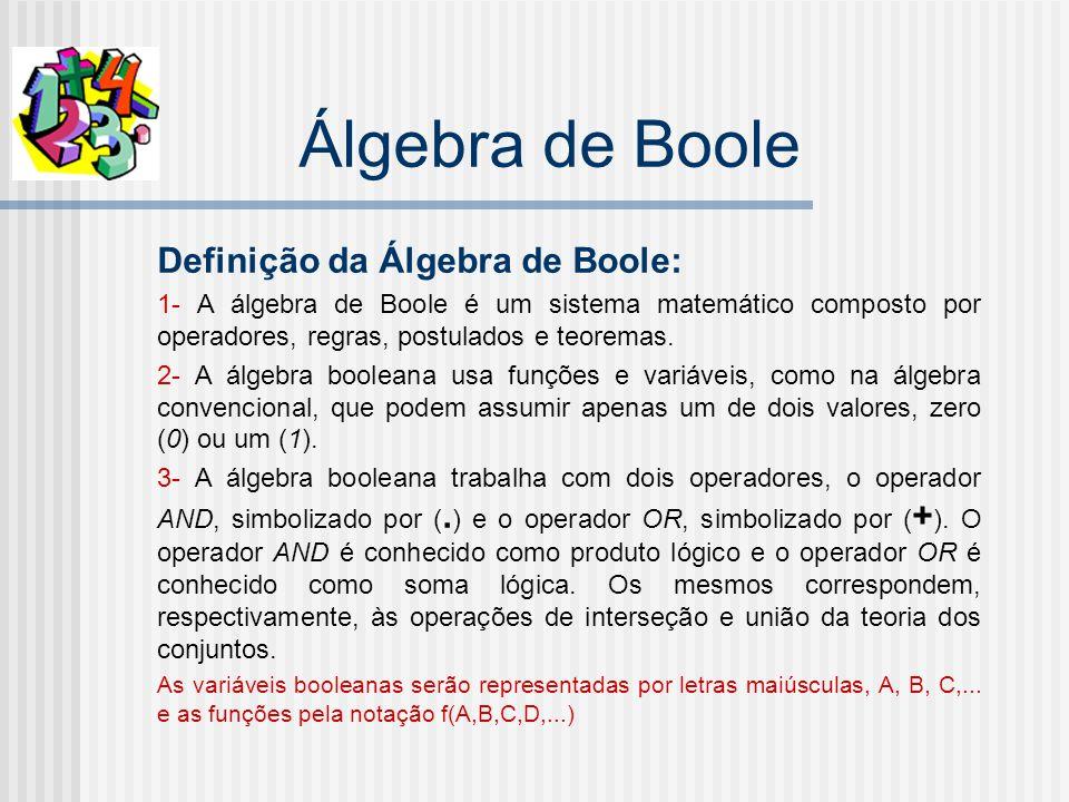 Álgebra de Boole Definição da Álgebra de Boole: 1- A álgebra de Boole é um sistema matemático composto por operadores, regras, postulados e teoremas.