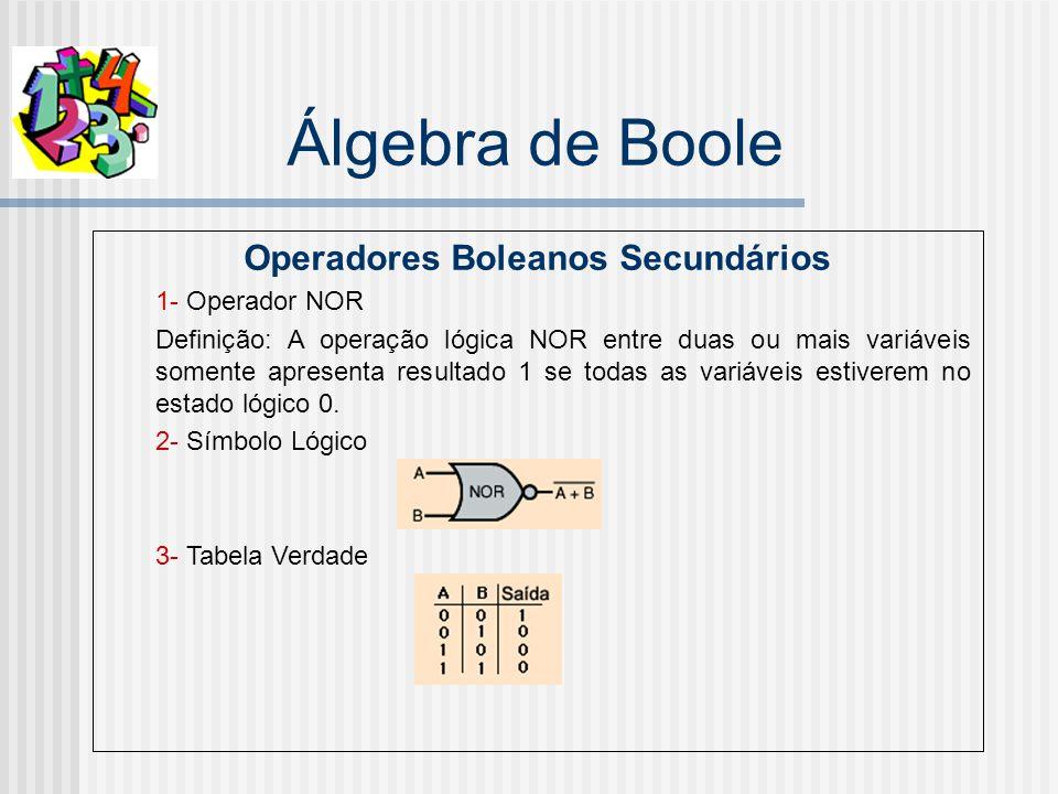Álgebra de Boole Operadores Boleanos Secundários 1- Operador NOR Definição: A operação lógica NOR entre duas ou mais variáveis somente apresenta resultado 1 se todas as variáveis estiverem no estado lógico 0.