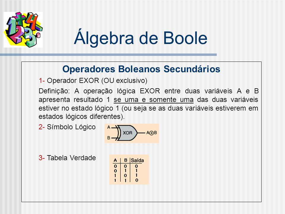 Álgebra de Boole Operadores Boleanos Secundários 1- Operador EXOR (OU exclusivo) Definição: A operação lógica EXOR entre duas variáveis A e B apresenta resultado 1 se uma e somente uma das duas variáveis estiver no estado lógico 1 (ou seja se as duas variáveis estiverem em estados lógicos diferentes).