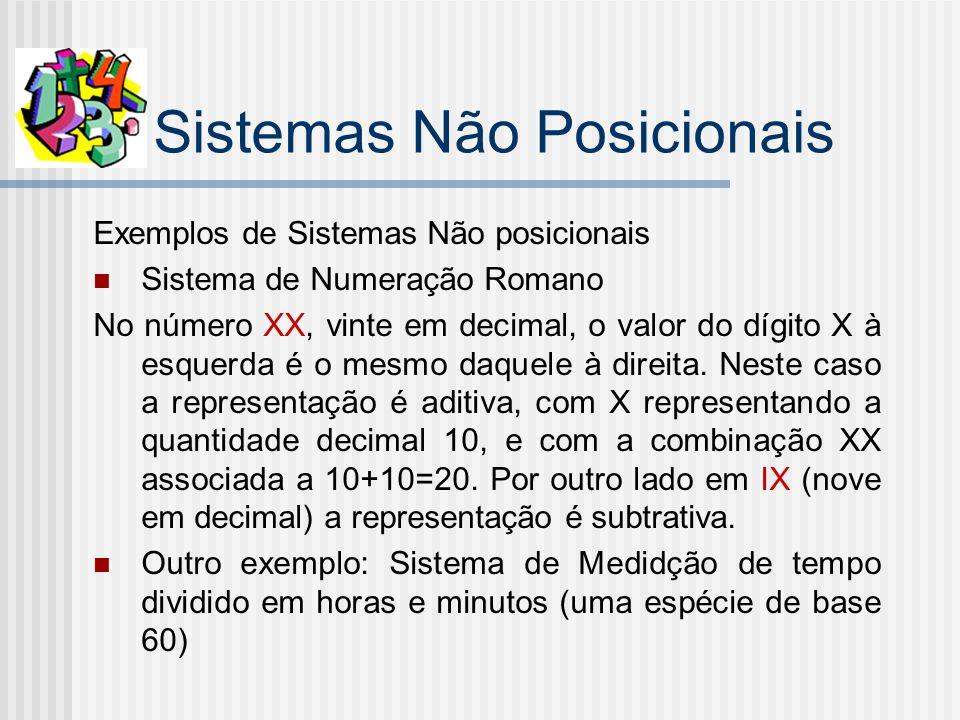 Sistemas Não Posicionais Exemplos de Sistemas Não posicionais Sistema de Numeração Romano No número XX, vinte em decimal, o valor do dígito X à esquerda é o mesmo daquele à direita.