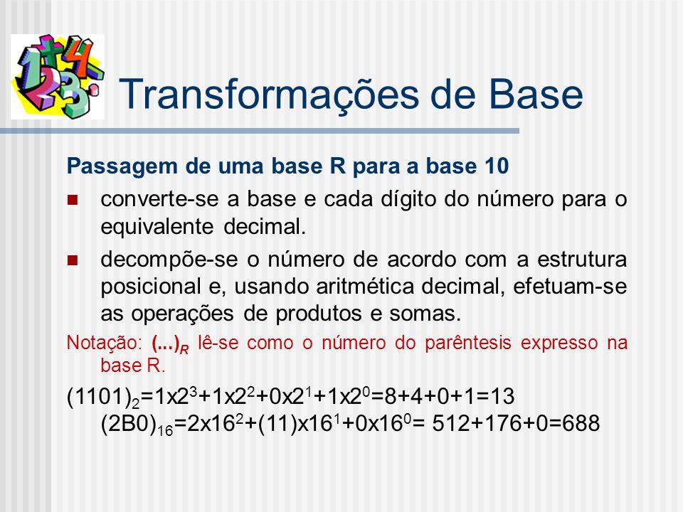 Transformações de Base Passagem de uma base R para a base 10 converte-se a base e cada dígito do número para o equivalente decimal.