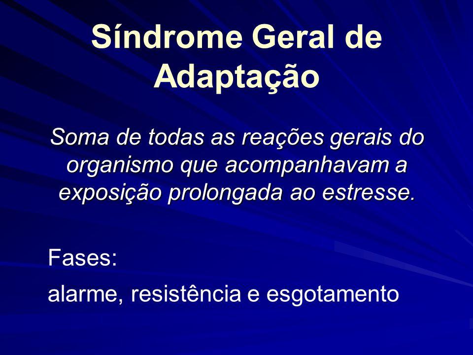 Síndrome Geral de Adaptação Soma de todas as reações gerais do organismo que acompanhavam a exposição prolongada ao estresse. Fases: alarme, resistênc