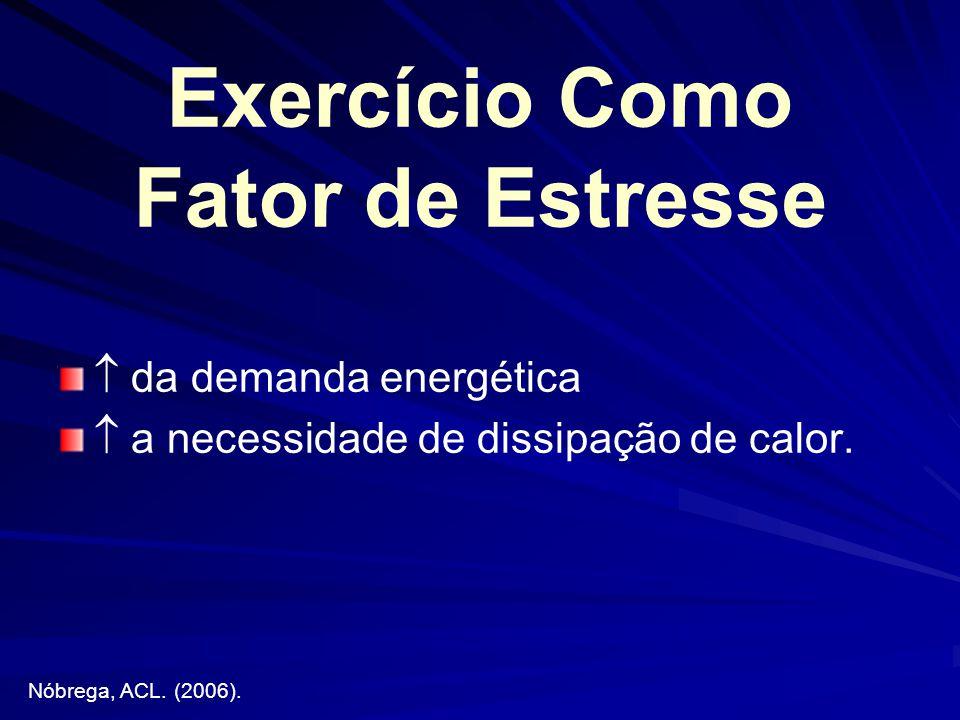 Exercício Como Fator de Estresse da demanda energética a necessidade de dissipação de calor. Nóbrega, ACL. (2006).