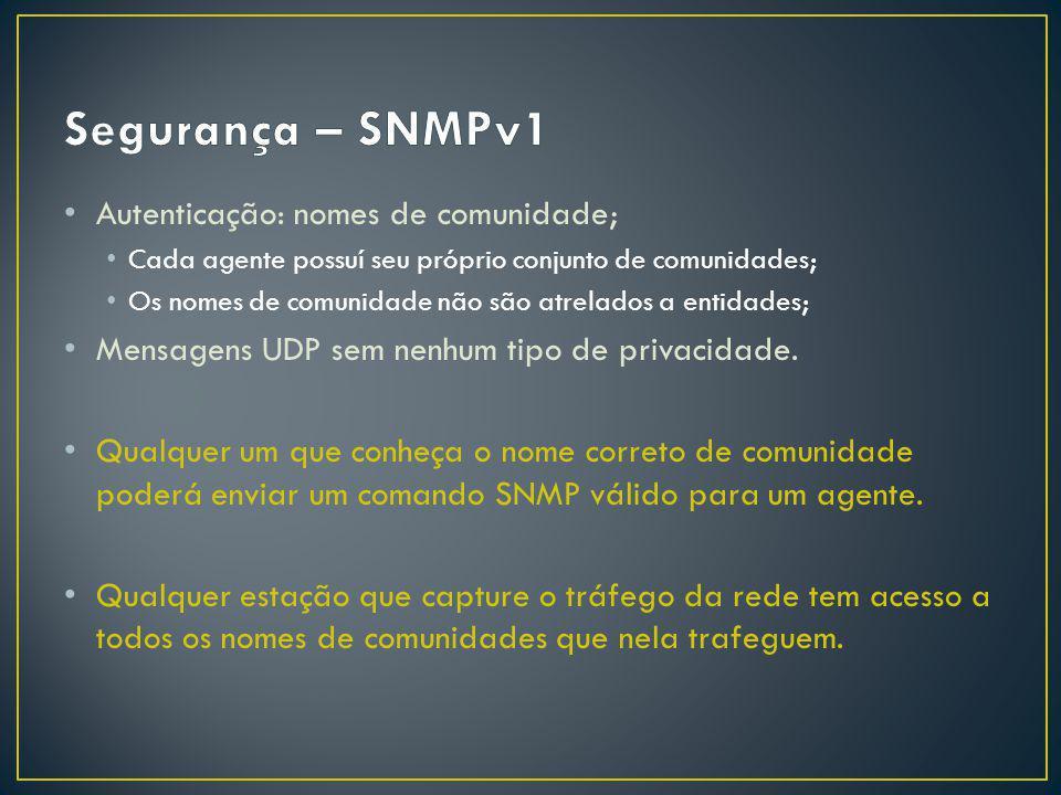 Autenticação: nomes de comunidade; Cada agente possuí seu próprio conjunto de comunidades; Os nomes de comunidade não são atrelados a entidades; Mensagens UDP sem nenhum tipo de privacidade.