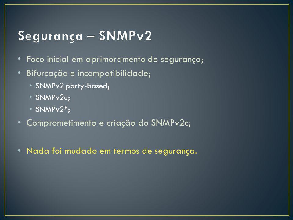 Foco inicial em aprimoramento de segurança; Bifurcação e incompatibilidade; SNMPv2 party-based; SNMPv2u; SNMPv2*; Comprometimento e criação do SNMPv2c; Nada foi mudado em termos de segurança.