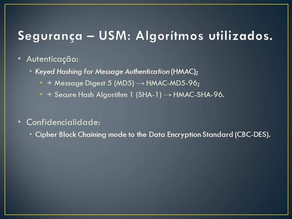Autenticação: Keyed Hashing for Message Authentication (HMAC); + Message Digest 5 (MD5) HMAC-MD5-96; + Secure Hash Algorithm 1 (SHA-1) HMAC-SHA-96.