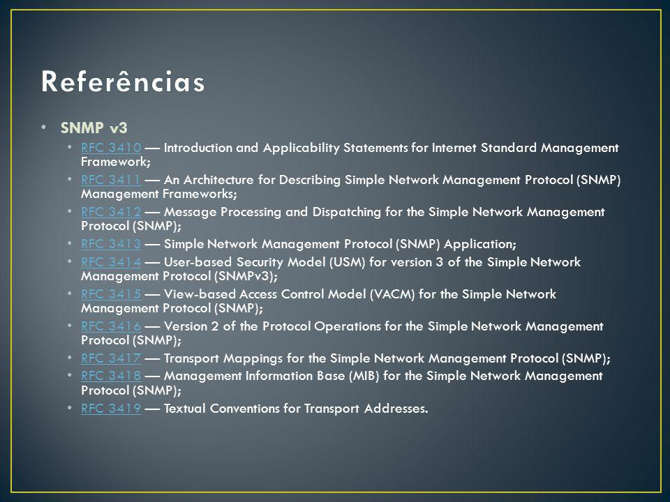 SNMP v3 RFC 3410 Introduction and Applicability Statements for Internet Standard Management Framework; RFC 3410 RFC 3411 An Architecture for Describing Simple Network Management Protocol (SNMP) Management Frameworks; RFC 3411 RFC 3412 Message Processing and Dispatching for the Simple Network Management Protocol (SNMP); RFC 3412 RFC 3413 Simple Network Management Protocol (SNMP) Application; RFC 3413 RFC 3414 User-based Security Model (USM) for version 3 of the Simple Network Management Protocol (SNMPv3); RFC 3414 RFC 3415 View-based Access Control Model (VACM) for the Simple Network Management Protocol (SNMP); RFC 3415 RFC 3416 Version 2 of the Protocol Operations for the Simple Network Management Protocol (SNMP); RFC 3416 RFC 3417 Transport Mappings for the Simple Network Management Protocol (SNMP); RFC 3417 RFC 3418 Management Information Base (MIB) for the Simple Network Management Protocol (SNMP); RFC 3418 RFC 3419 Textual Conventions for Transport Addresses.