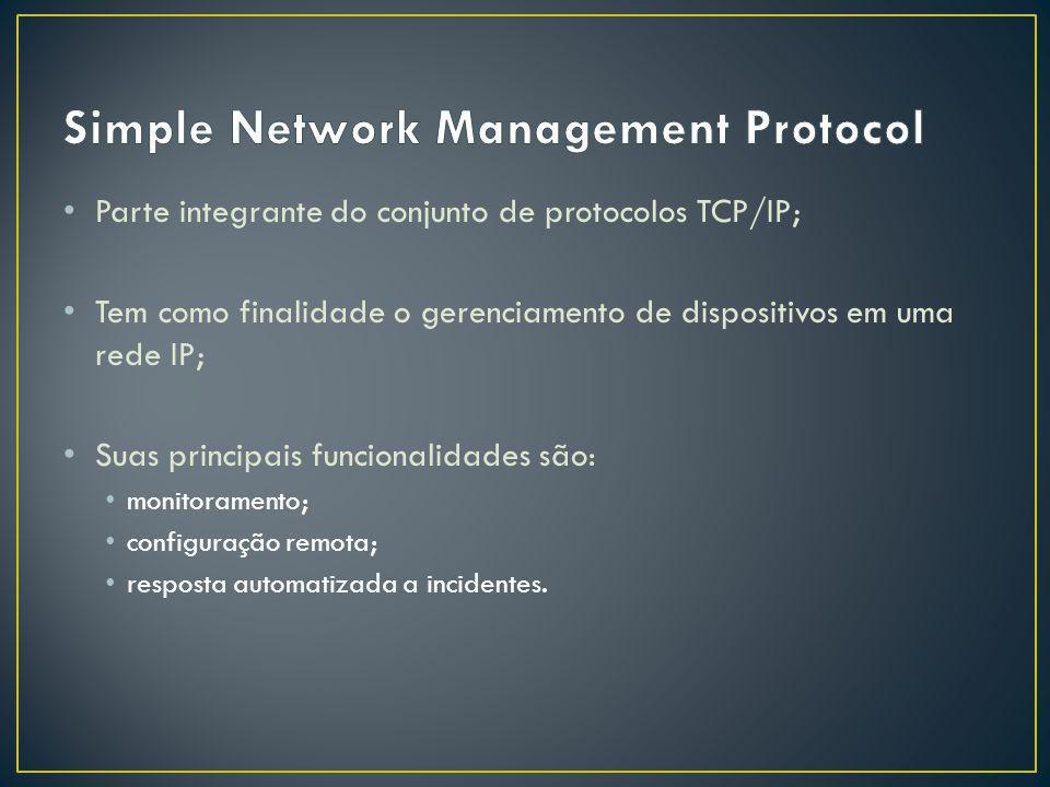 Parte integrante do conjunto de protocolos TCP/IP; Tem como finalidade o gerenciamento de dispositivos em uma rede IP; Suas principais funcionalidades são: monitoramento; configuração remota; resposta automatizada a incidentes.