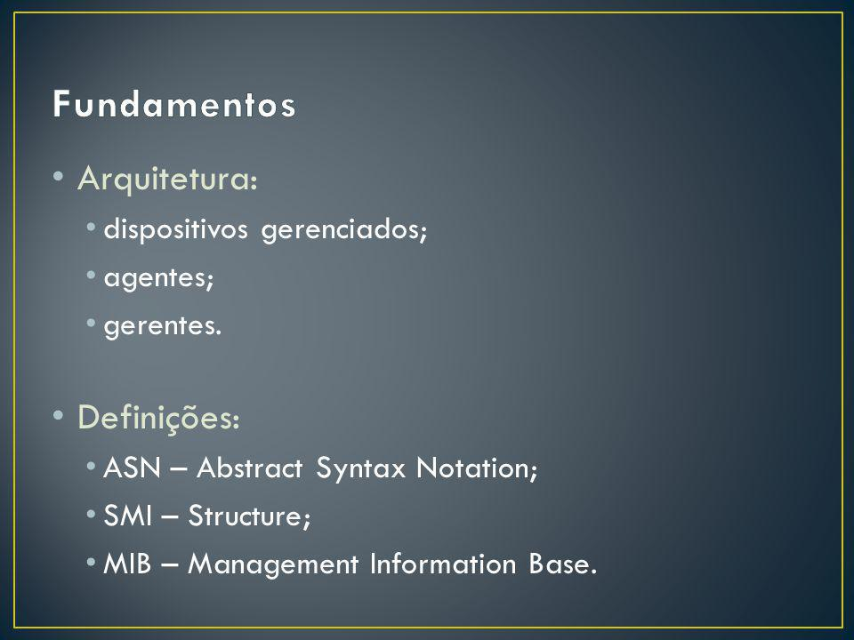 Arquitetura: dispositivos gerenciados; agentes; gerentes. Definições: ASN – Abstract Syntax Notation; SMI – Structure; MIB – Management Information Ba