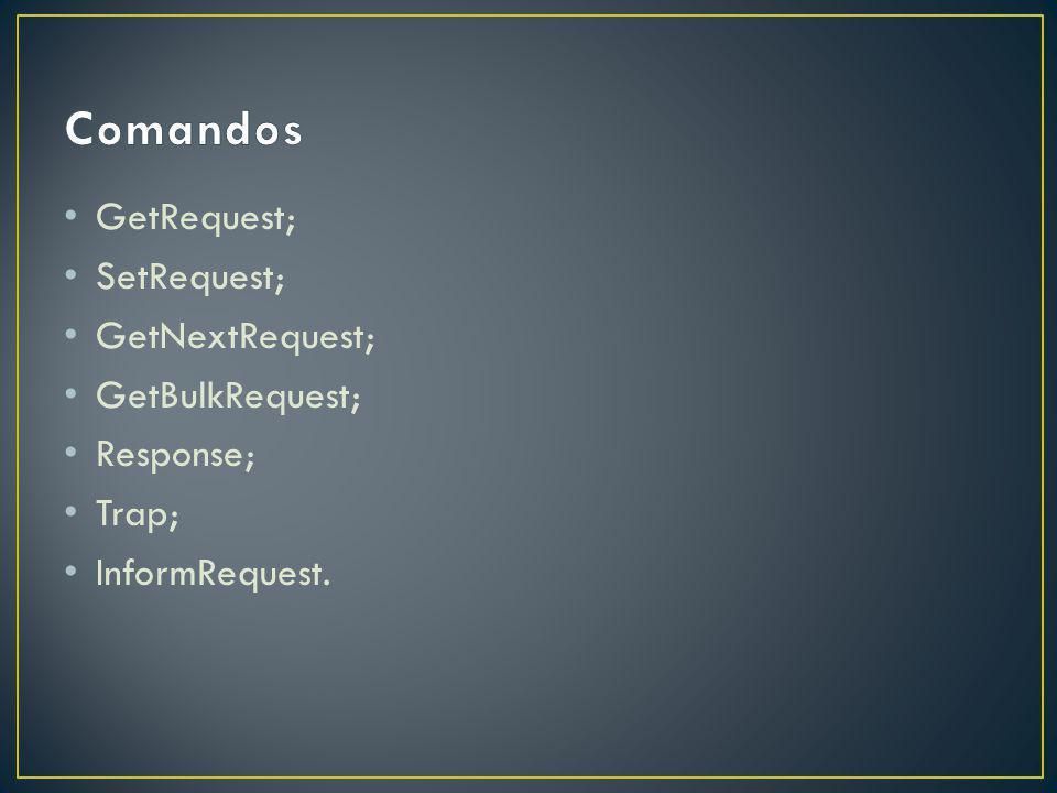 GetRequest; SetRequest; GetNextRequest; GetBulkRequest; Response; Trap; InformRequest.
