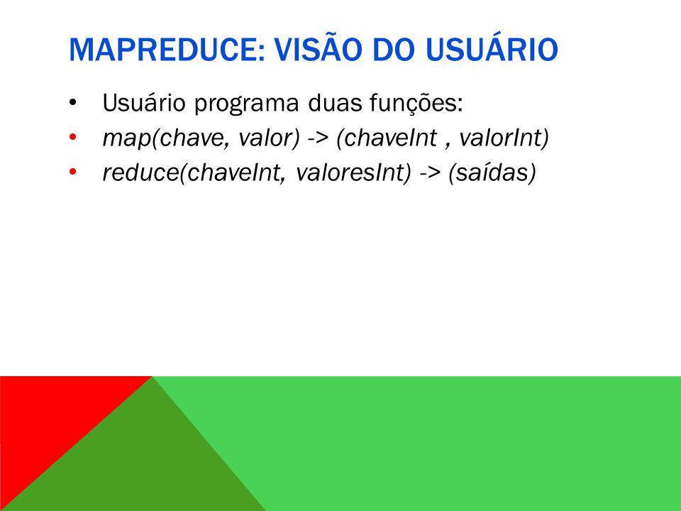 MAPREDUCE: VISÃO DO USUÁRIO Usuário programa duas funções: map(chave, valor) -> (chaveInt, valorInt) reduce(chaveInt, valoresInt) -> (saídas)