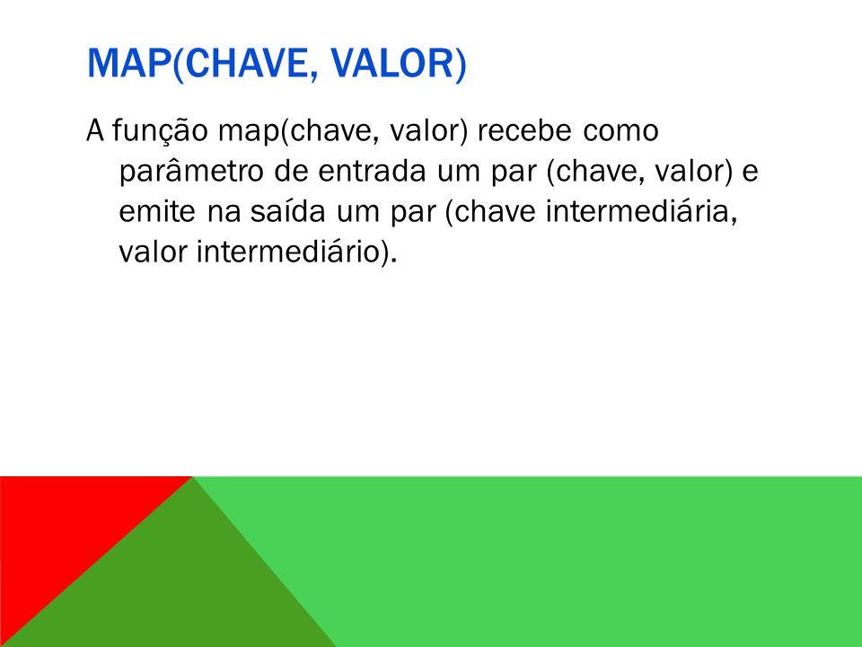MAP(CHAVE, VALOR) A função map(chave, valor) recebe como parâmetro de entrada um par (chave, valor) e emite na saída um par (chave intermediária, valor intermediário).