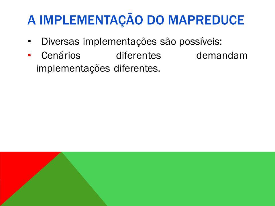A IMPLEMENTAÇÃO DO MAPREDUCE Diversas implementações são possíveis: Cenários diferentes demandam implementações diferentes.