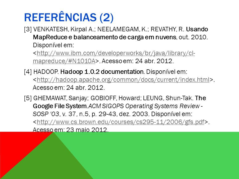 REFERÊNCIAS (2) [3] VENKATESH, Kirpal A.; NEELAMEGAM, K.; REVATHY, R.