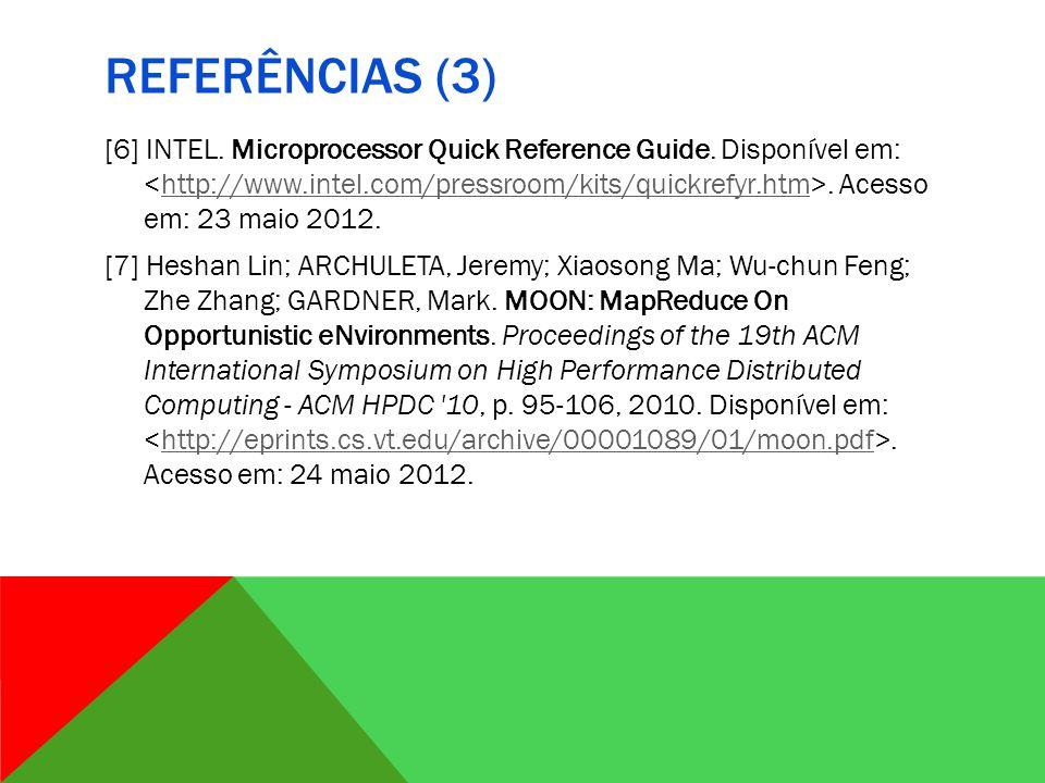 REFERÊNCIAS (3) [6] INTEL.Microprocessor Quick Reference Guide.
