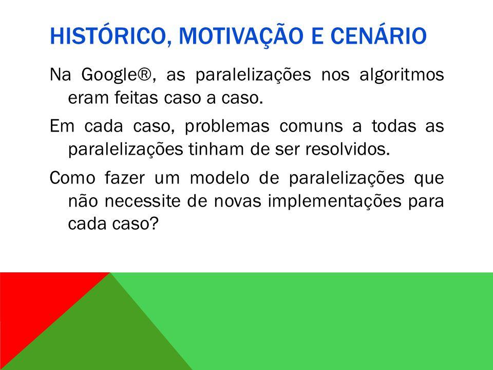 HISTÓRICO, MOTIVAÇÃO E CENÁRIO Na Google®, as paralelizações nos algoritmos eram feitas caso a caso.