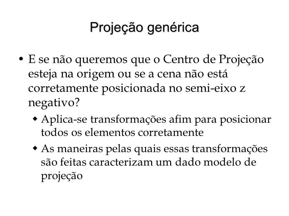 Projeção genérica E se não queremos que o Centro de Projeção esteja na origem ou se a cena não está corretamente posicionada no semi-eixo z negativo?