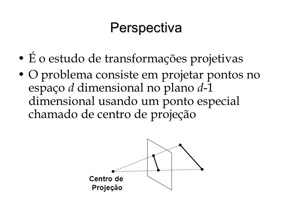 Perspectiva É o estudo de transformações projetivas O problema consiste em projetar pontos no espaço d dimensional no plano d -1 dimensional usando um