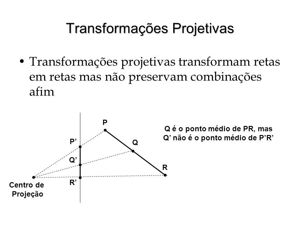 Geometria Projetiva Geometria euclidiana: duas retas paralelas não se encontram Geometria projetiva: assume-se a existência de pontos ideais (no infinito) Retas paralelas se encontram num ponto ideal Para não haver mais de um ponto ideal para cada inclinação de reta, assume-se que o plano projetivo se fecha sob si mesmo Em 2D o plano projetivo tem uma borda que é uma reta no infinito (feita de pontos ideais) Transformações projetivas podem levar pontos ideais em pontos do plano euclidiano e vice-versa Problemas: O plano projetivo é uma variedade não orientável (Vamos usar geometria projetiva apenas para projetar pontos)