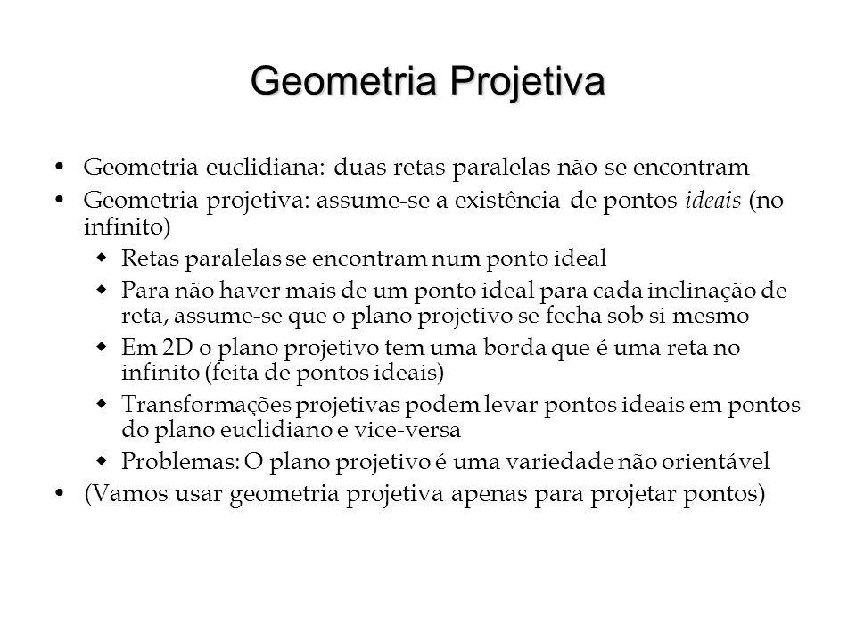 Geometria Projetiva Geometria euclidiana: duas retas paralelas não se encontram Geometria projetiva: assume-se a existência de pontos ideais (no infin