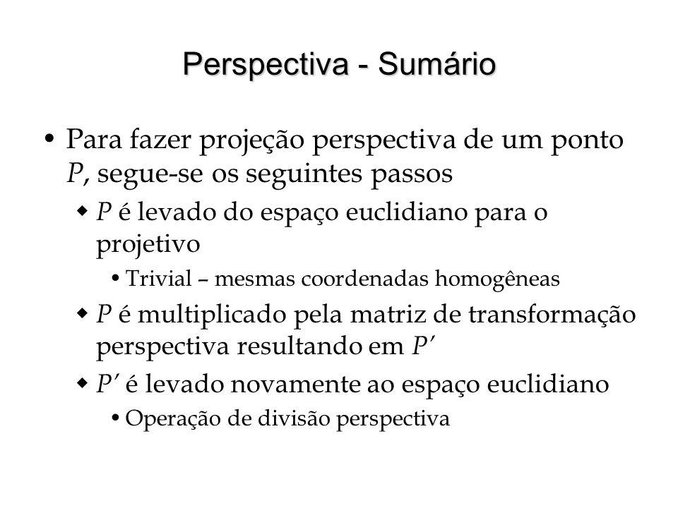 Perspectiva - Sumário Para fazer projeção perspectiva de um ponto P, segue-se os seguintes passos P é levado do espaço euclidiano para o projetivo Tri