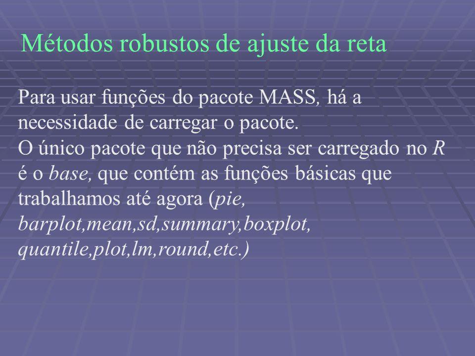Métodos robustos de ajuste da reta Para usar funções do pacote MASS, há a necessidade de carregar o pacote. O único pacote que não precisa ser carrega