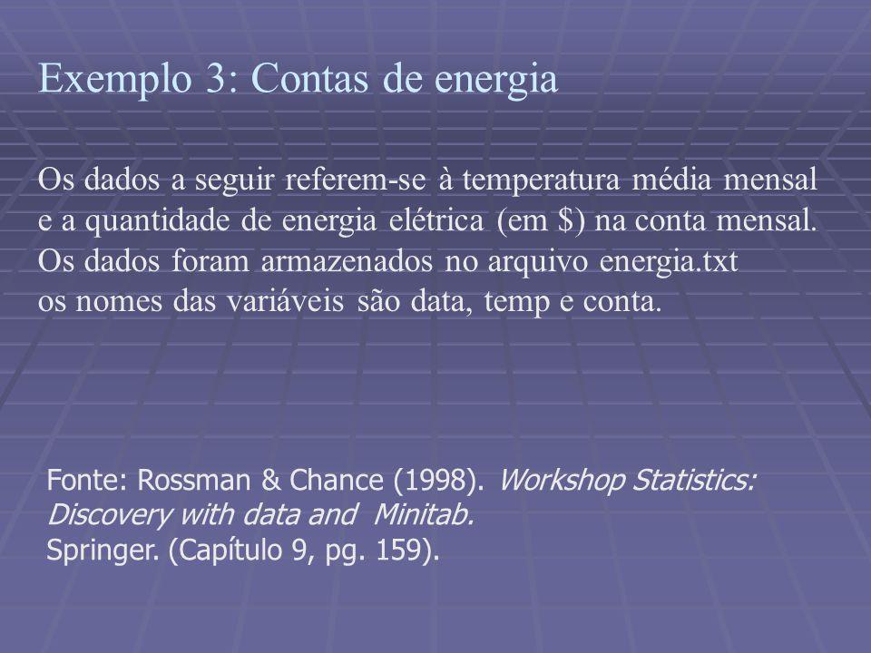 Exemplo 3: Contas de energia Os dados a seguir referem-se à temperatura média mensal e a quantidade de energia elétrica (em $) na conta mensal. Os dad