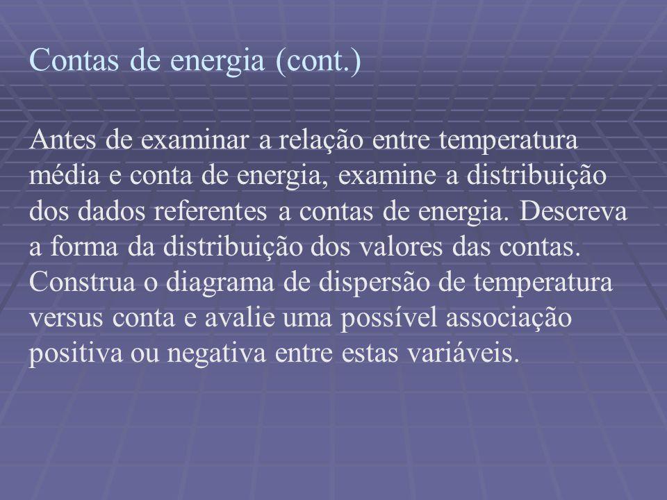 Contas de energia (cont.) Antes de examinar a relação entre temperatura média e conta de energia, examine a distribuição dos dados referentes a contas