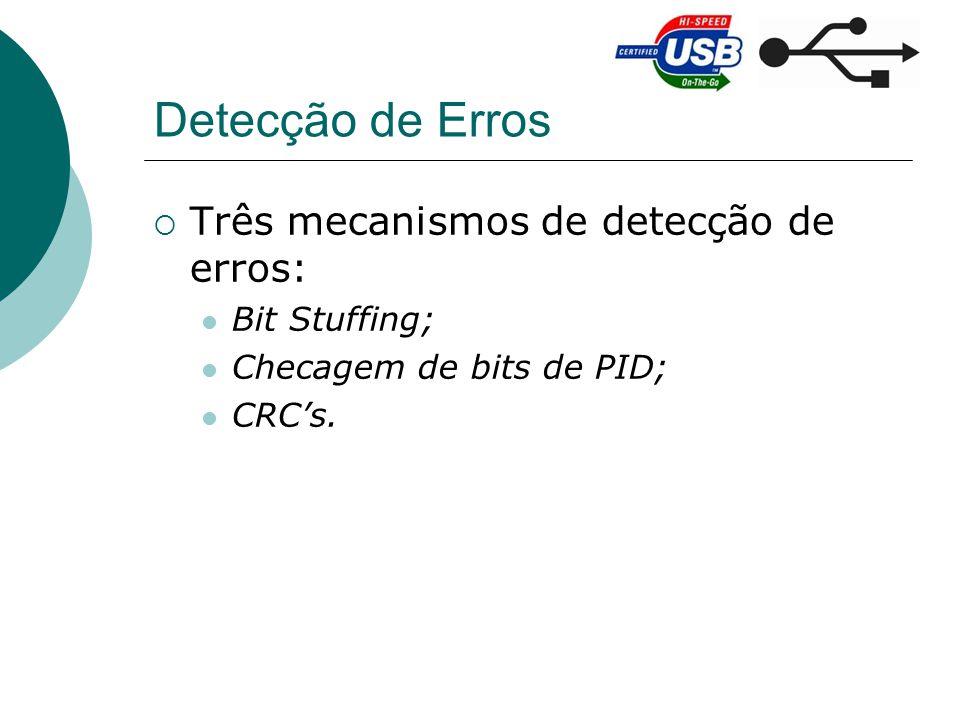 Detecção de Erros Três mecanismos de detecção de erros: Bit Stuffing; Checagem de bits de PID; CRCs.