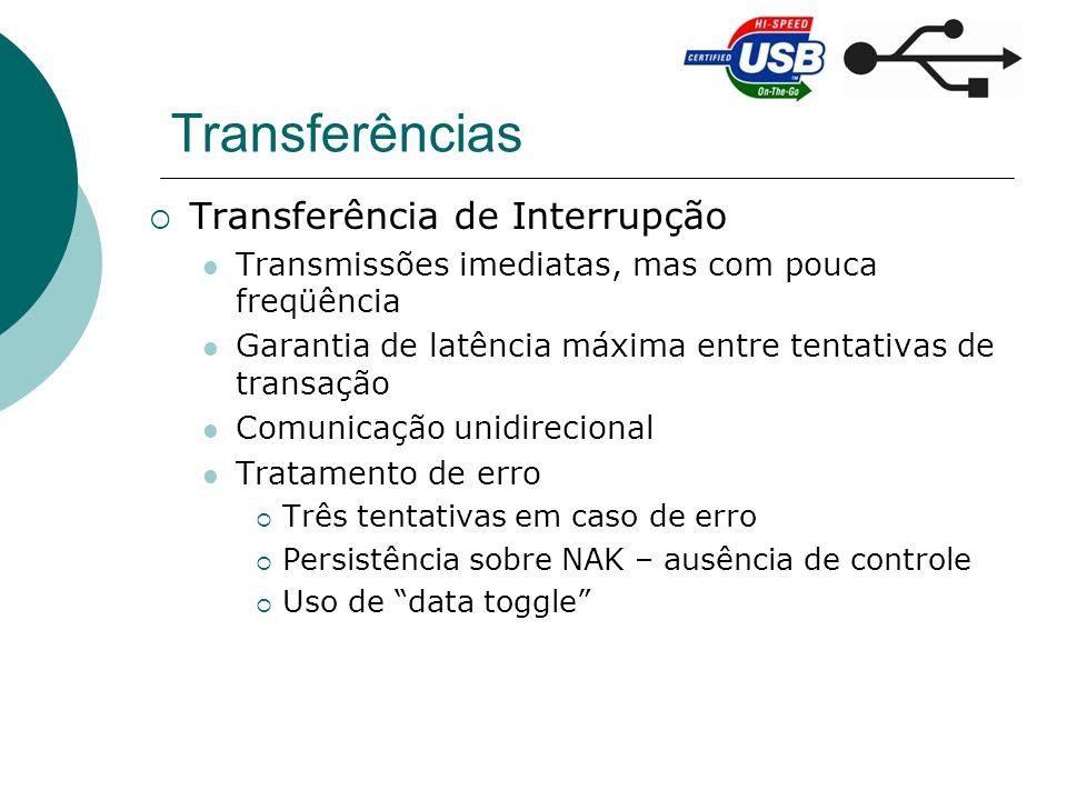 Transferências Transferência de Interrupção Transmissões imediatas, mas com pouca freqüência Garantia de latência máxima entre tentativas de transação