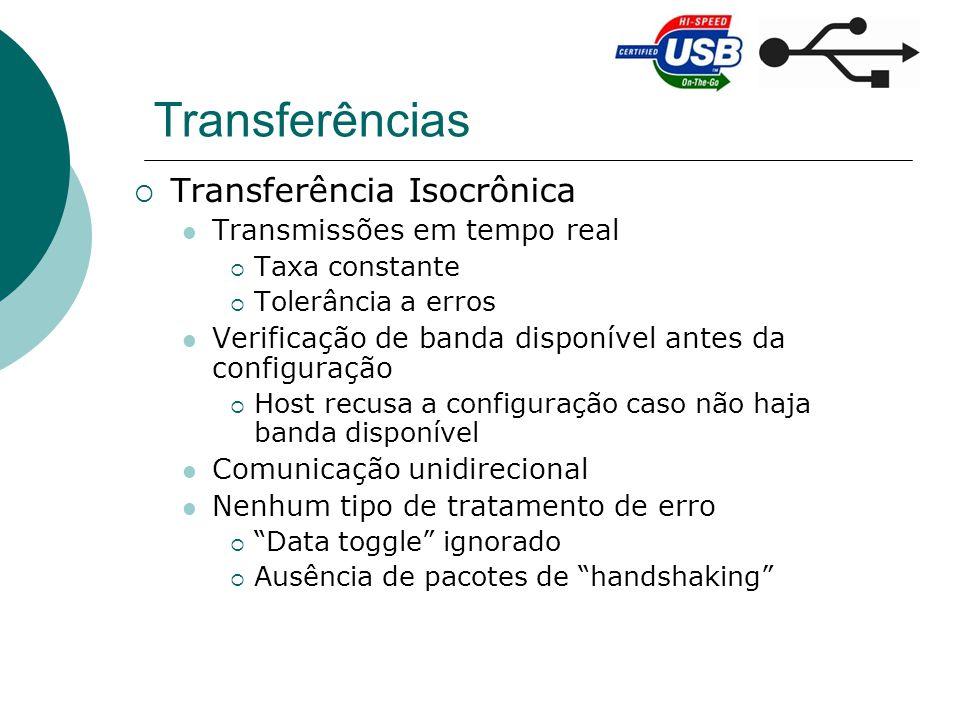 Transferências Transferência Isocrônica Transmissões em tempo real Taxa constante Tolerância a erros Verificação de banda disponível antes da configur