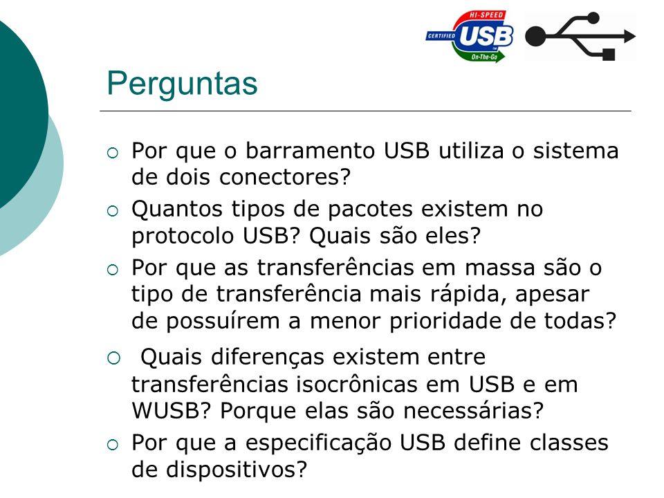 Perguntas Por que o barramento USB utiliza o sistema de dois conectores? Quantos tipos de pacotes existem no protocolo USB? Quais são eles? Por que as
