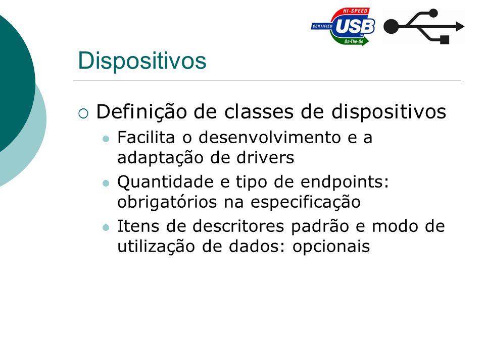 Dispositivos Definição de classes de dispositivos Facilita o desenvolvimento e a adaptação de drivers Quantidade e tipo de endpoints: obrigatórios na