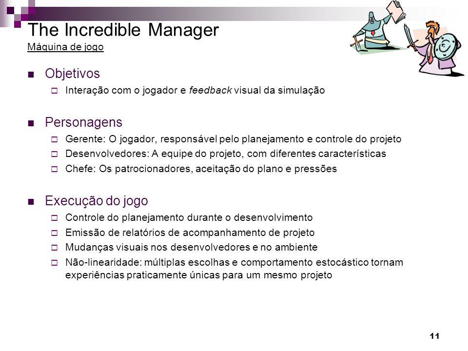 11 The Incredible Manager Máquina de jogo Objetivos Interação com o jogador e feedback visual da simulação Personagens Gerente: O jogador, responsável
