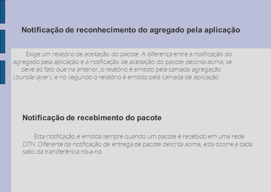 Notificação de reconhecimento do agregado pela aplicação Exige um relatório de aceitação do pacote. A diferença entre a notificação do agregado pela a