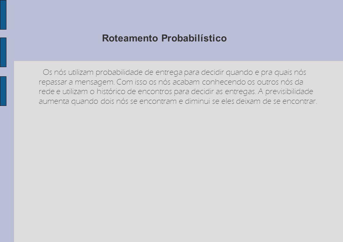 Roteamento Probabilístico Os nós utilizam probabilidade de entrega para decidir quando e pra quais nós repassar a mensagem. Com isso os nós acabam con