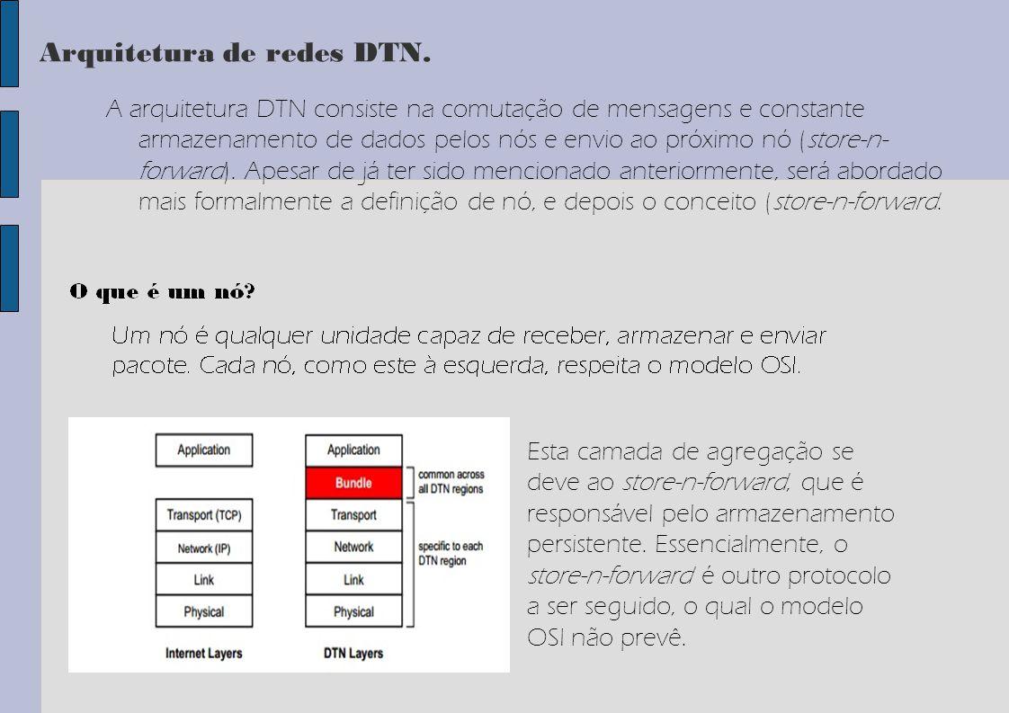 Arquitetura de redes DTN. A arquitetura DTN consiste na comutação de mensagens e constante armazenamento de dados pelos nós e envio ao próximo nó (sto