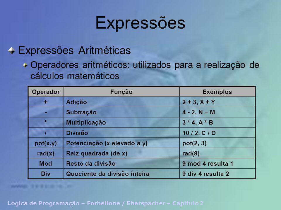 Lógica de Programação – Forbellone / Eberspacher – Capítulo 2 Expressões Expressões Lógicas Operadores relacionais: utilizados para a estabelecer relação de comparação entre valores OperadorFunçãoExemplos =Igual a3 = 3, X = Y >Maior que5 > 4, X > Y <Menor que3 < 6, X < Y >=Maior ou igual a5 >= 3, X >= Y <=Menor ou igual a3 <= 5, X <= Y <>Diferente de8 <> 9, X <> Y