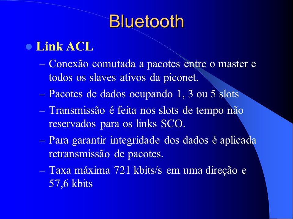 Bluetooth Link ACL – Conexão comutada a pacotes entre o master e todos os slaves ativos da piconet. – Pacotes de dados ocupando 1, 3 ou 5 slots – Tran