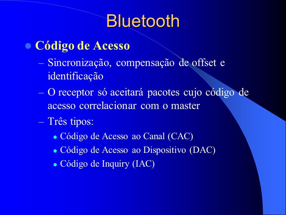 Bluetooth Código de Acesso – Sincronização, compensação de offset e identificação – O receptor só aceitará pacotes cujo código de acesso correlacionar