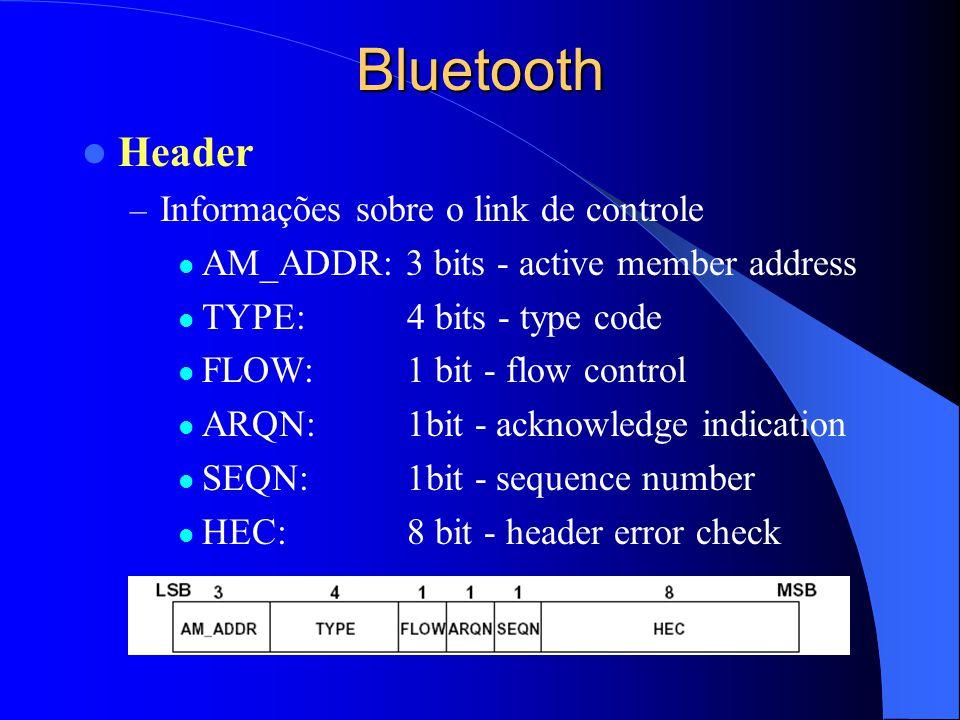 Bluetooth Header – Informações sobre o link de controle AM_ADDR: 3 bits - active member address TYPE: 4 bits - type code FLOW: 1 bit - flow control AR