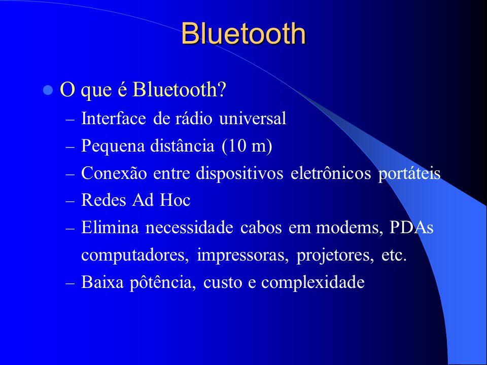 Bluetooth O que é Bluetooth? – Interface de rádio universal – Pequena distância (10 m) – Conexão entre dispositivos eletrônicos portáteis – Redes Ad H