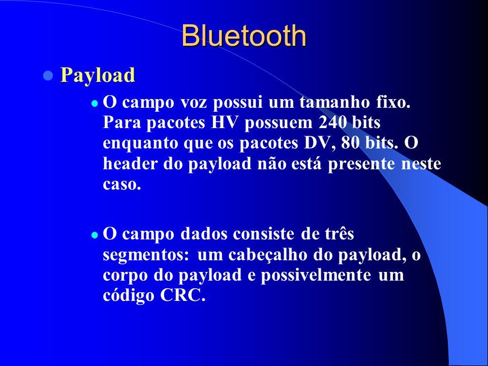 Bluetooth Payload O campo voz possui um tamanho fixo. Para pacotes HV possuem 240 bits enquanto que os pacotes DV, 80 bits. O header do payload não es