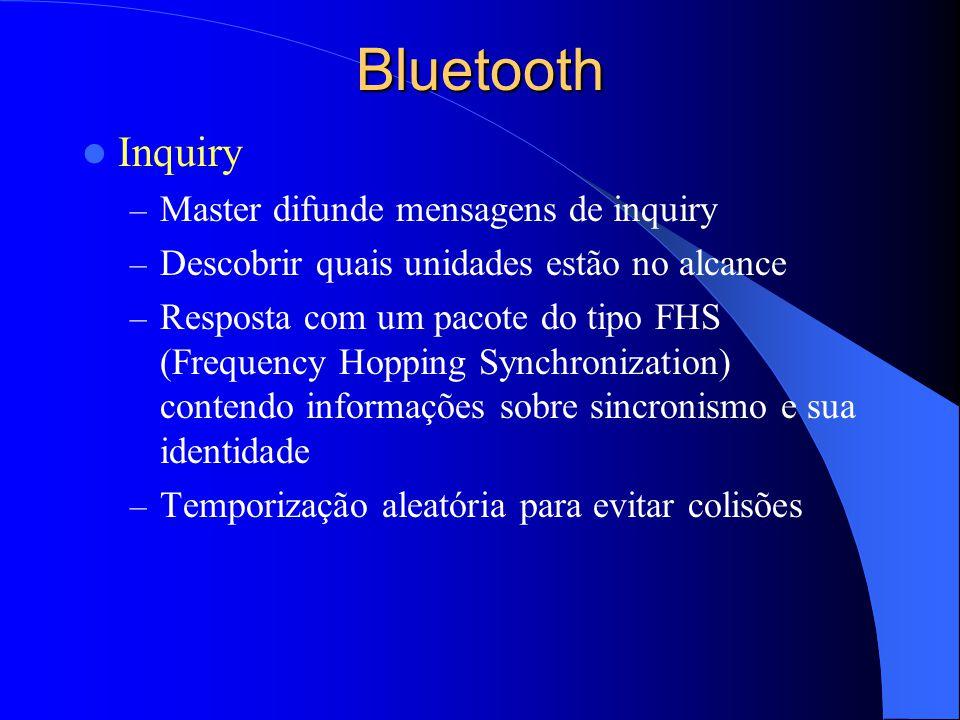 Bluetooth Inquiry – Master difunde mensagens de inquiry – Descobrir quais unidades estão no alcance – Resposta com um pacote do tipo FHS (Frequency Ho