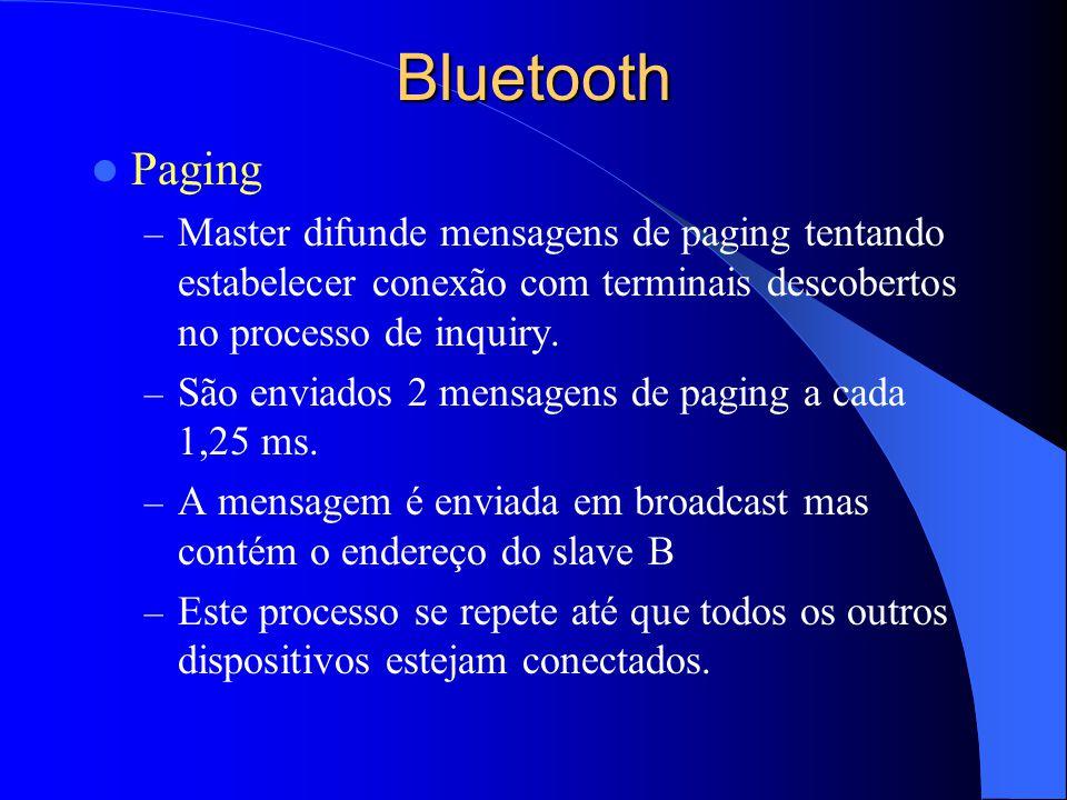 Bluetooth Paging – Master difunde mensagens de paging tentando estabelecer conexão com terminais descobertos no processo de inquiry. – São enviados 2