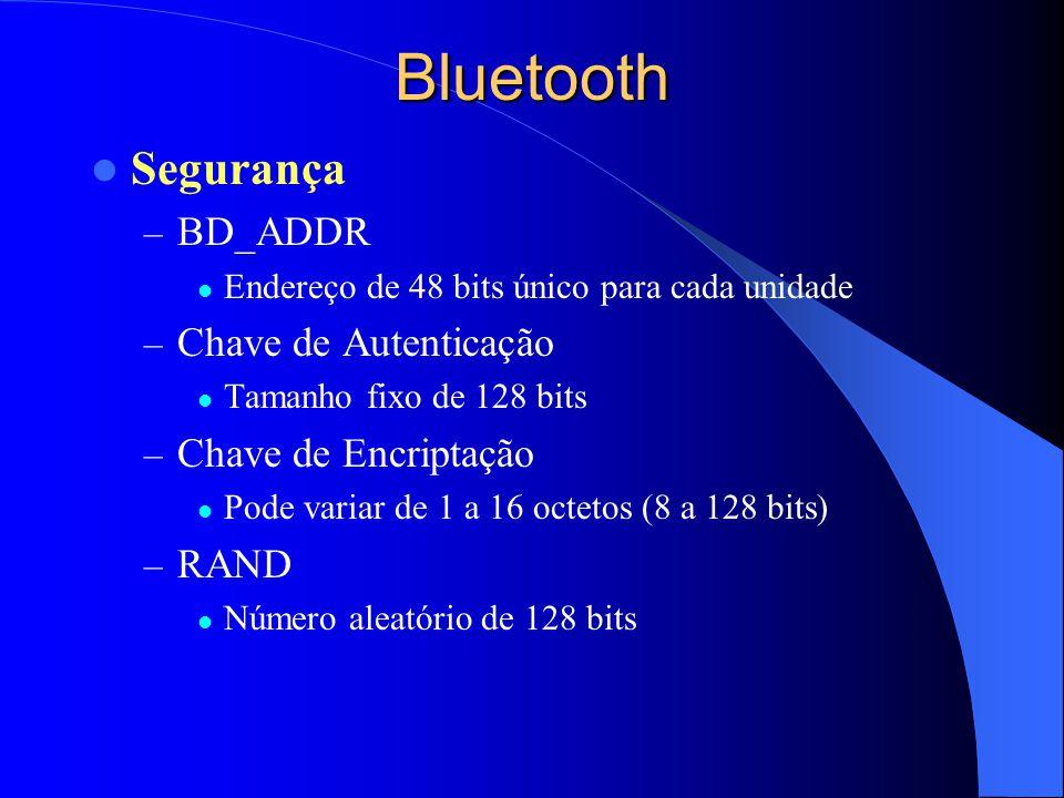 Bluetooth Segurança – BD_ADDR Endereço de 48 bits único para cada unidade – Chave de Autenticação Tamanho fixo de 128 bits – Chave de Encriptação Pode