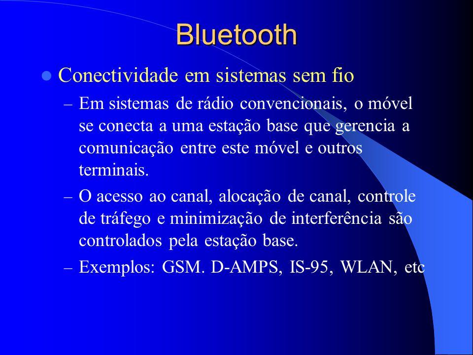 Bluetooth Conectividade em sistemas sem fio – Em sistemas de rádio convencionais, o móvel se conecta a uma estação base que gerencia a comunicação ent