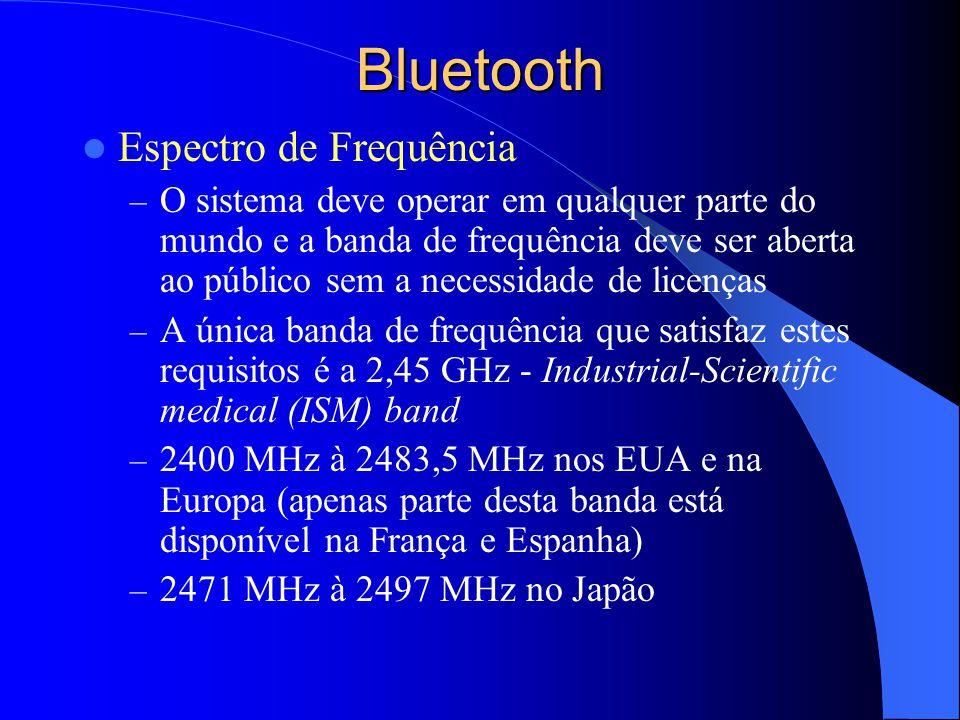 Bluetooth Espectro de Frequência – O sistema deve operar em qualquer parte do mundo e a banda de frequência deve ser aberta ao público sem a necessida