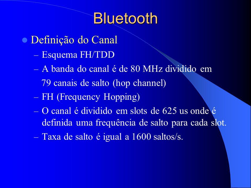 Bluetooth Definição do Canal – Esquema FH/TDD – A banda do canal é de 80 MHz dividido em 79 canais de salto (hop channel) – FH (Frequency Hopping) – O