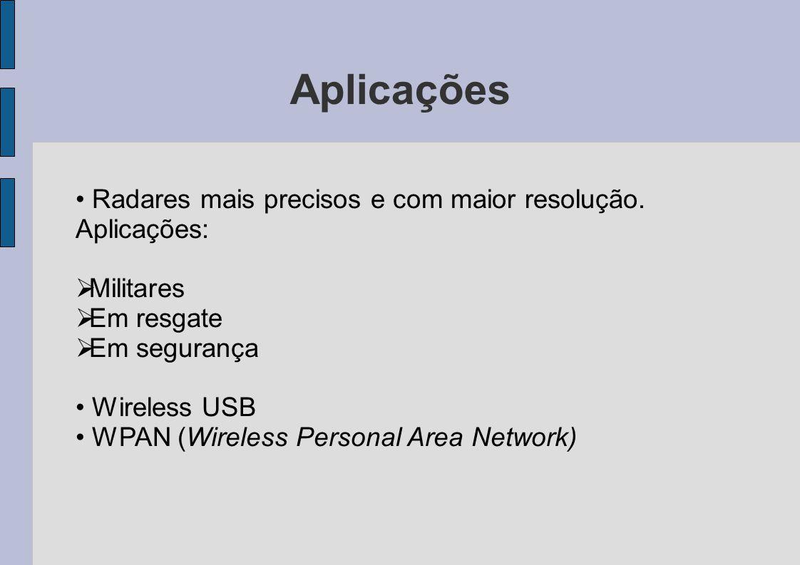 Aplicações Radares mais precisos e com maior resolução. Aplicações: Militares Em resgate Em segurança Wireless USB WPAN (Wireless Personal Area Networ